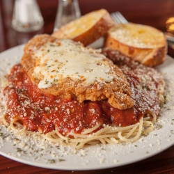 Spaghetti marinara with chicken parmesan photos by @thefinestphoto